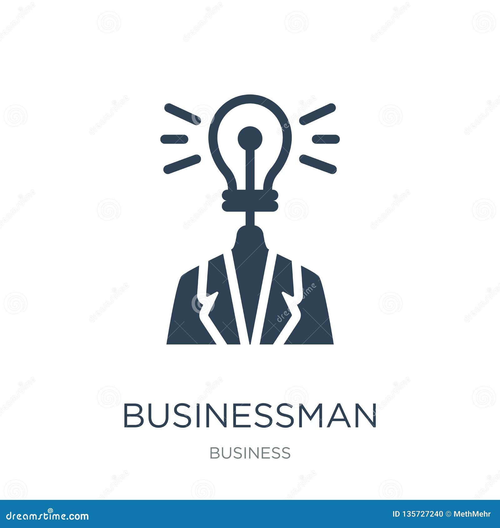 Biznesmen z pomysł ikoną w modnym projekta stylu biznesmen z pomysł ikoną odizolowywającą na białym tle Biznesmen z