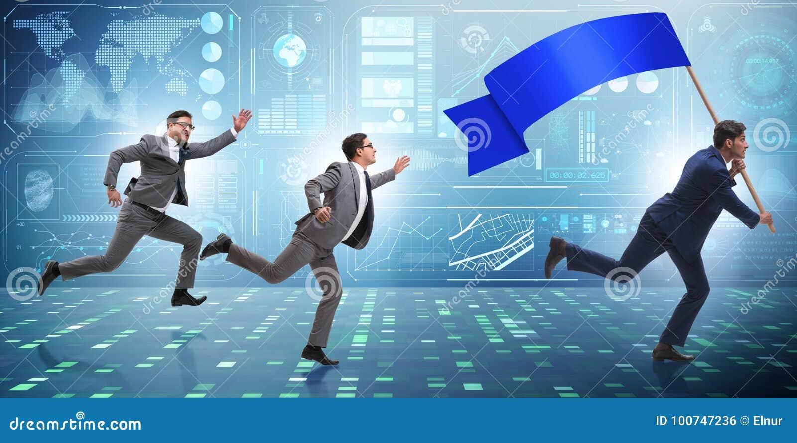 Biznesmen z pustym sztandaru bieg w biznesowym pojęciu
