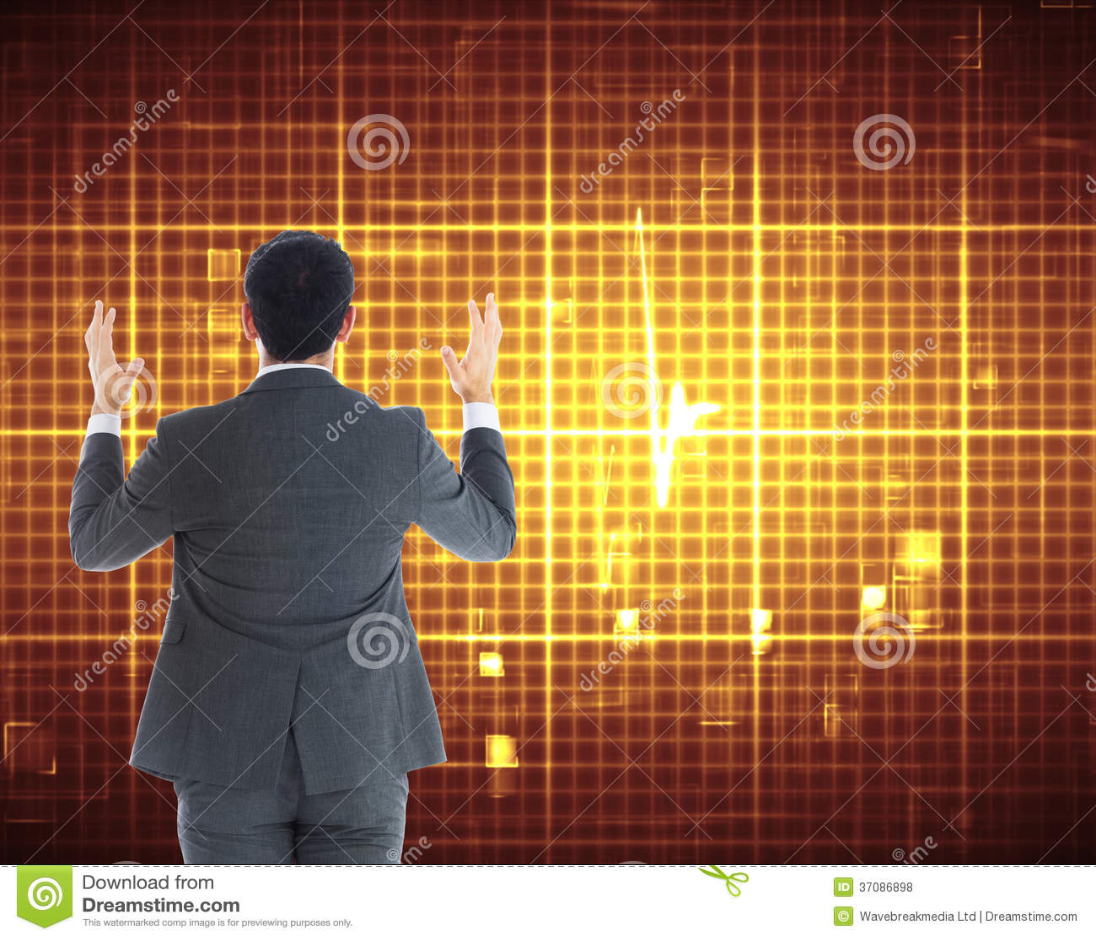 Download Biznesmen Z Rękami Podnosić Zdjęcie Stock - Obraz złożonej z abstrakt, waveform: 37086898