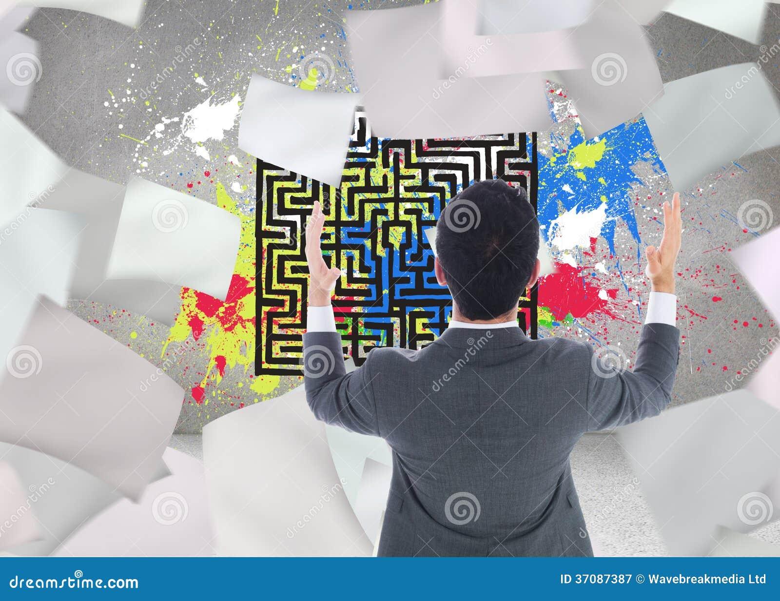 Download Biznesmen Z Rękami Podnosić Obraz Stock - Obraz złożonej z composite, farba: 37087387
