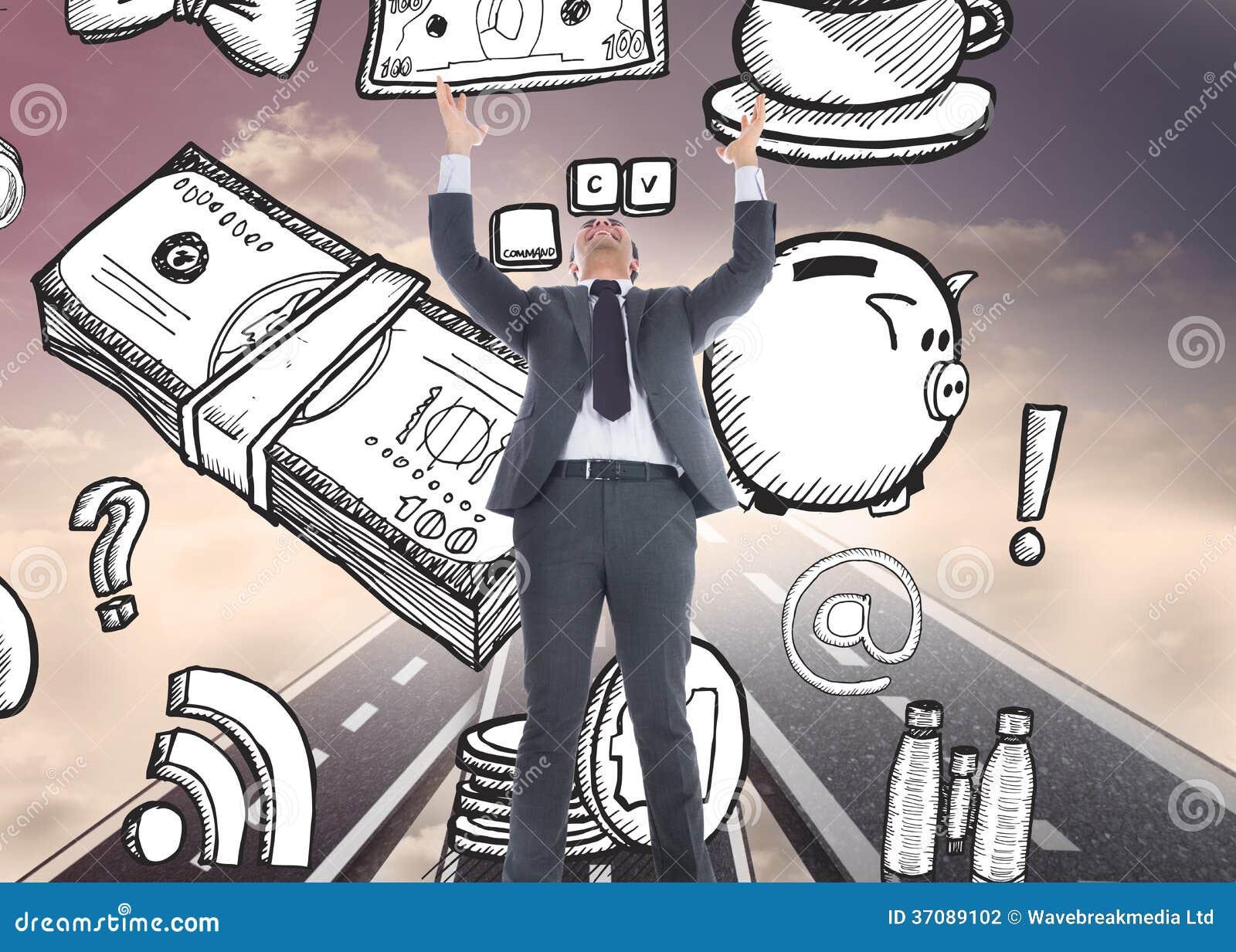 Download Biznesmen Z Rękami Podnosić Zdjęcie Stock - Obraz złożonej z sposób, błękitny: 37089102
