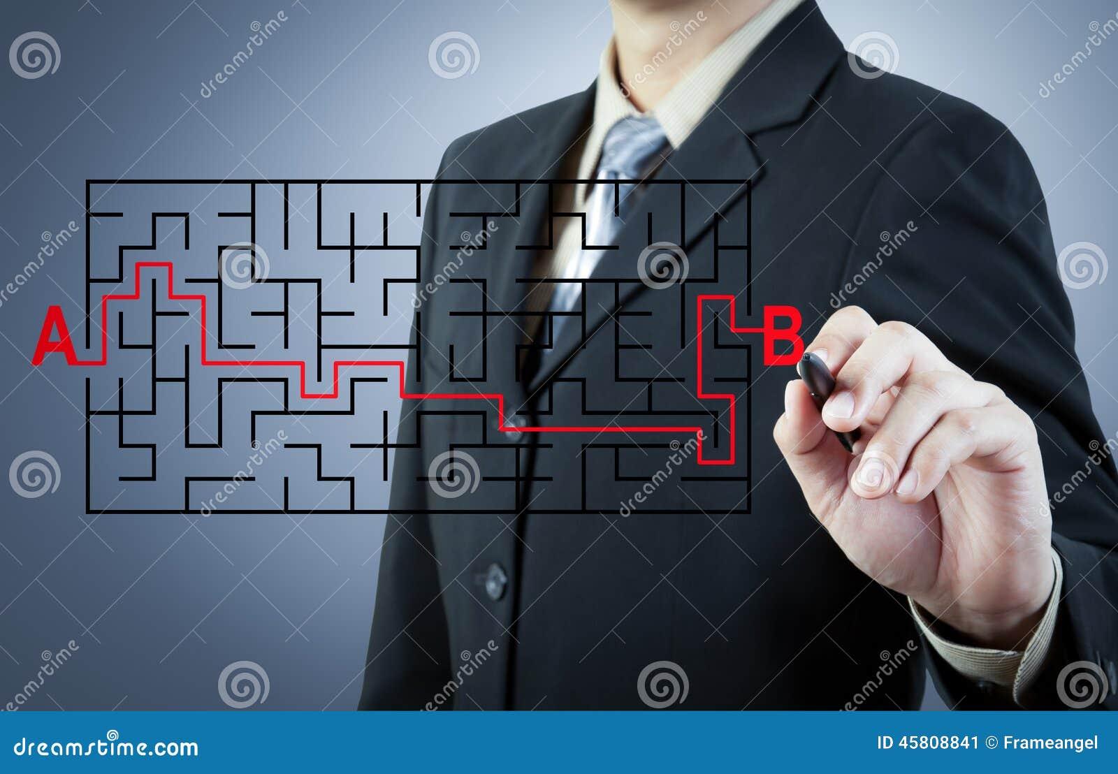 Biznesmen znajduje rozwiązanie od A b