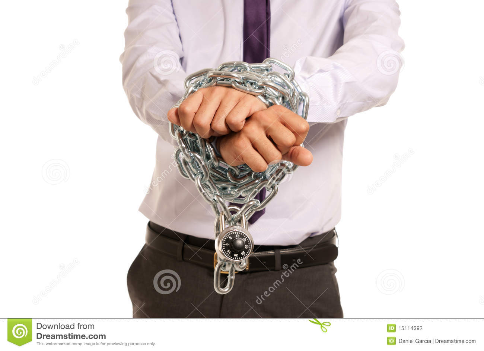 Biznesmena łańcuszkowy pętający ręk akcydensowy kłódki niewolnik