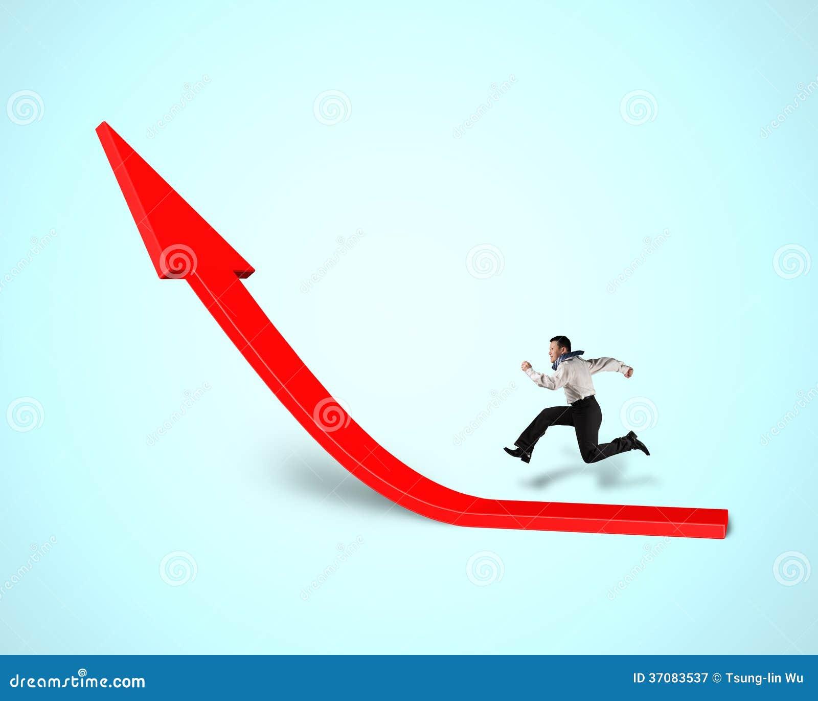 Download Biznesmena Bieg Na Narastającej Czerwonej Strzała Obraz Stock - Obraz złożonej z osiągnięcie, pozytyw: 37083537
