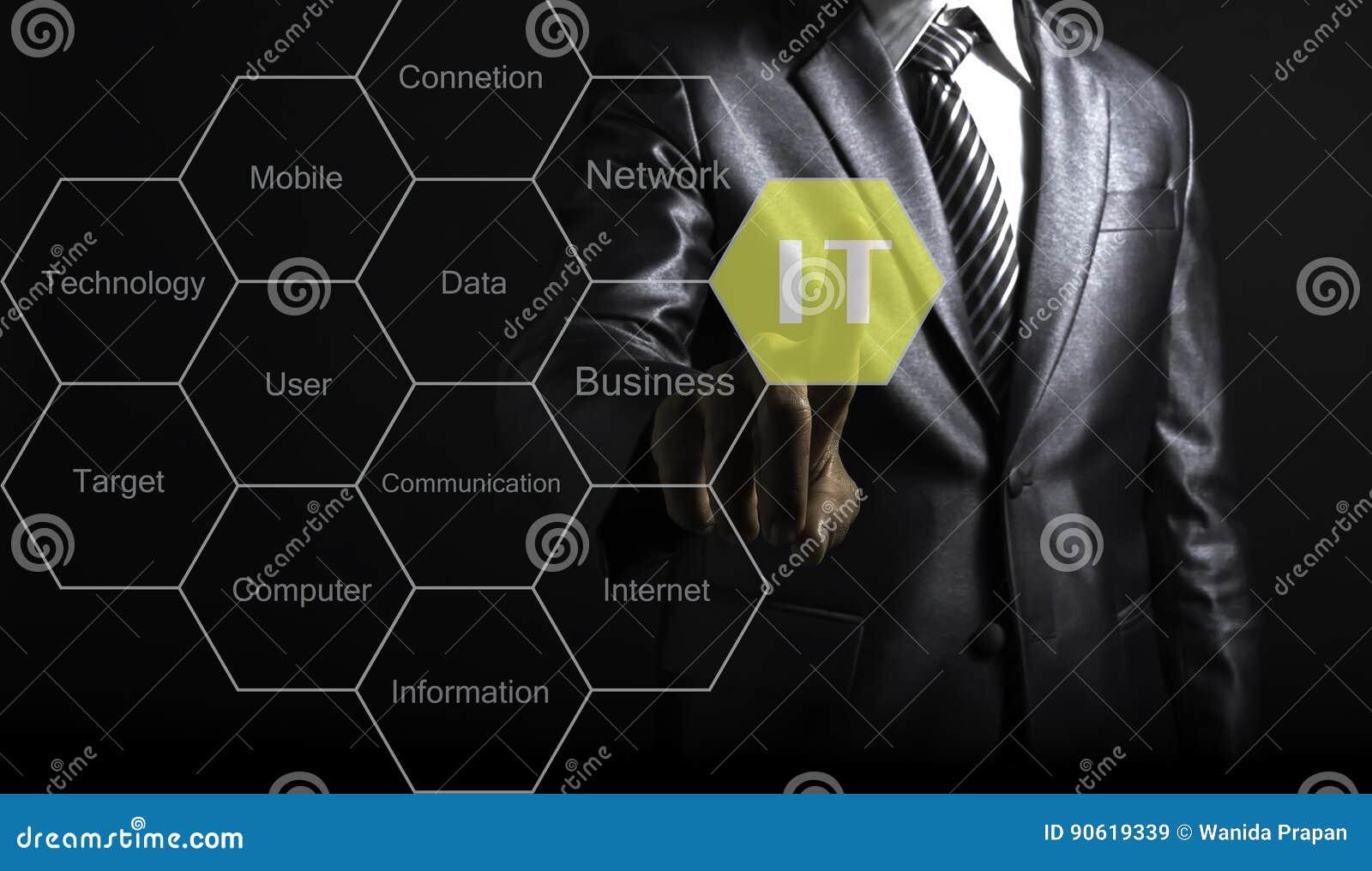Biznesmena dotyka IT konsultant przedstawia etykietki chmurę o informaci