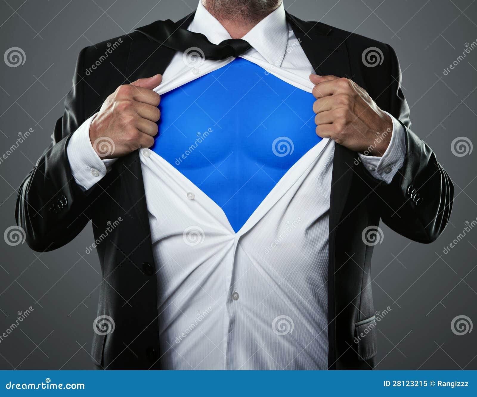 Biznesmena działanie lubi super bohatera