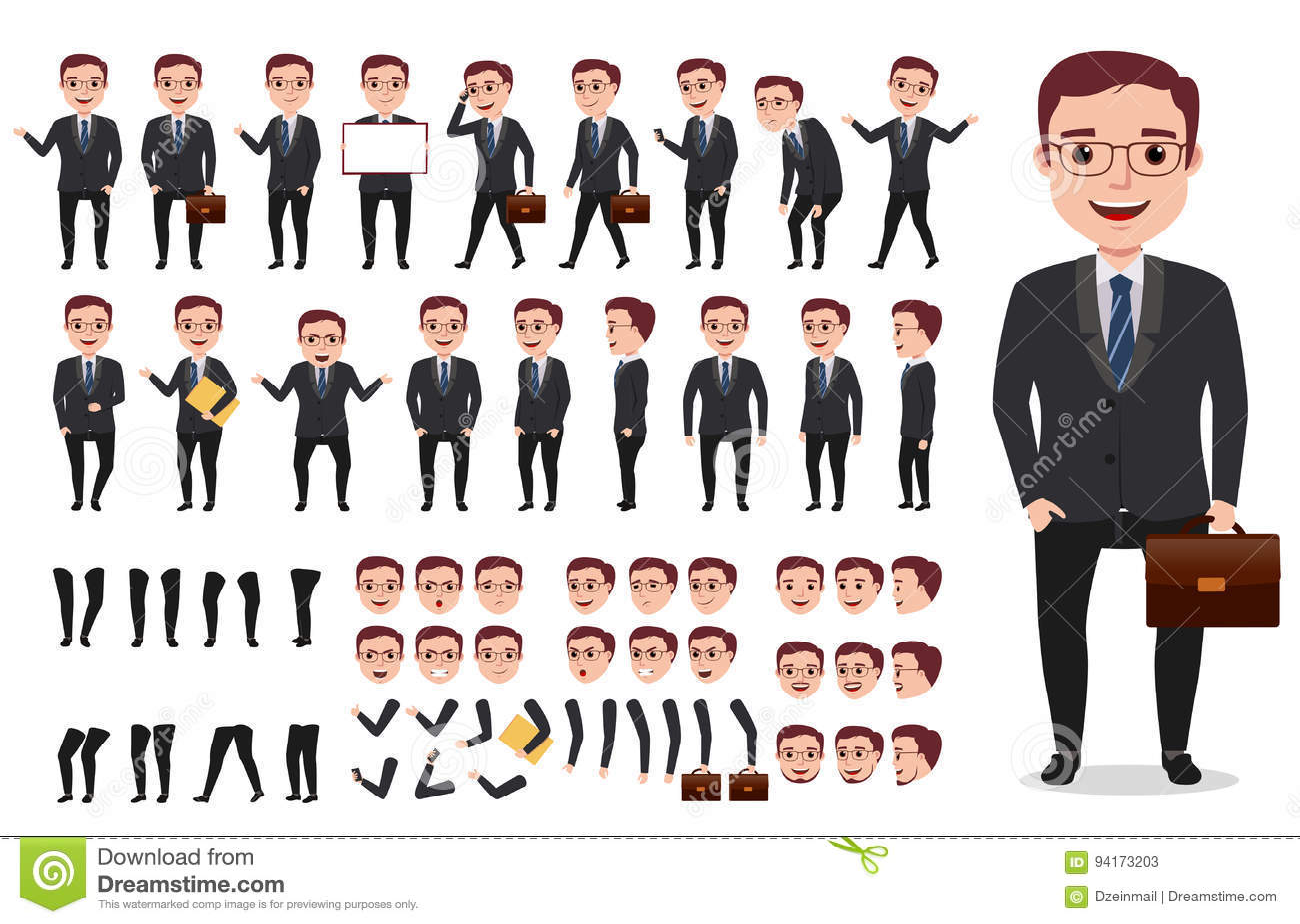 Biznesmena lub biura charakteru tworzenia męski wektorowy zestaw Set gotowy używać charaktery