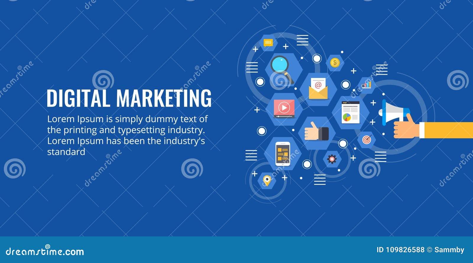 Biznesmena mienia megafon, online promocja, cyfrowy marketing, medialnej reklamy pojęcie Płaskiego projekta marketingowy sztandar
