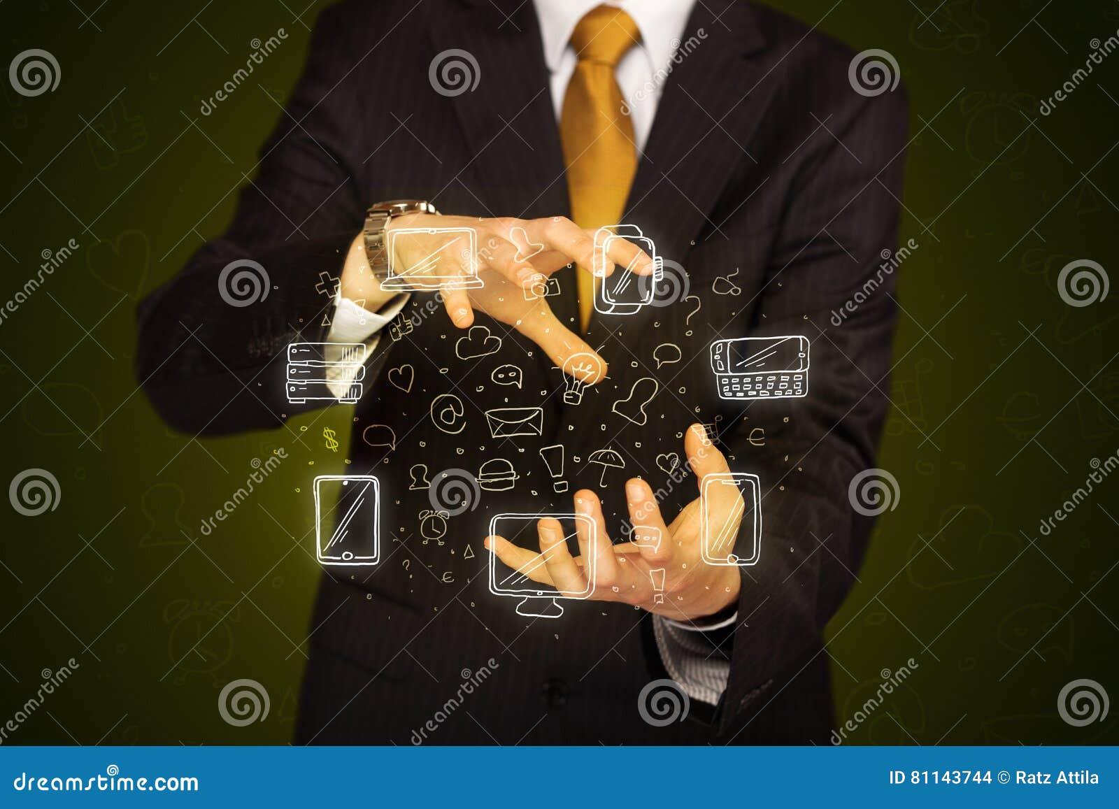 Biznesmena mienia networking ikony