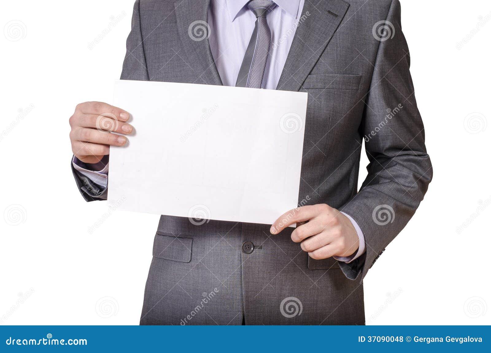 Download Biznesmena Mienia Pustego Miejsca Znak Zdjęcie Stock - Obraz złożonej z mienie, wiadomość: 37090048