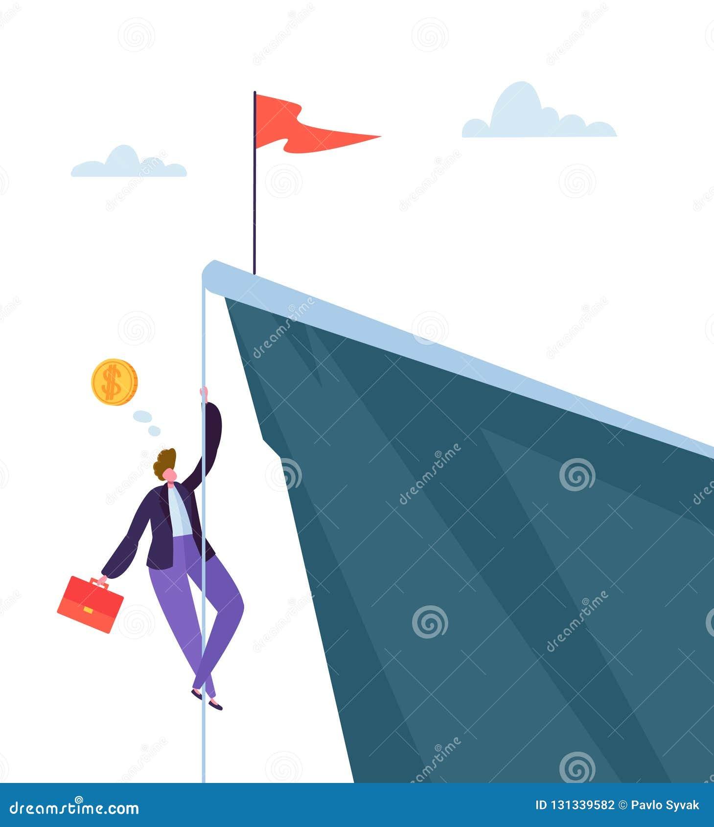 Biznesmena pięcie na szczycie góra Biznesowy charakter Próbuje dostawać Odgórny Bramkowy osiągnięcie, przywódctwo, motywacja