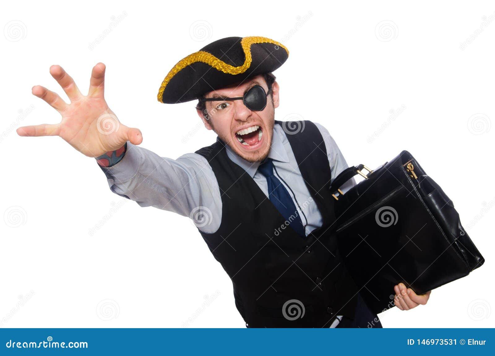 Biznesmena pirat odizolowywaj?cy na bia?ym tle