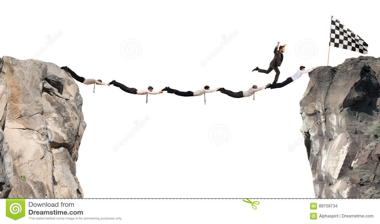 Biznesmena poparcia most dostawać flaga Osiągnięcie biznesowego celu pojęcie