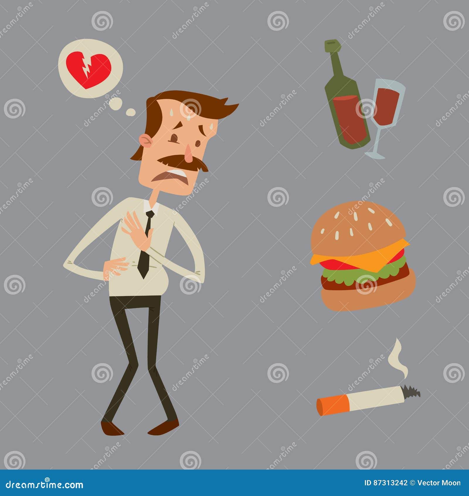 Biznesmena ryzyka mężczyzna ataka serca stresu kierowego infarct wektorowy ilustracyjny dymienie pije alkohol szkodliwą depresję