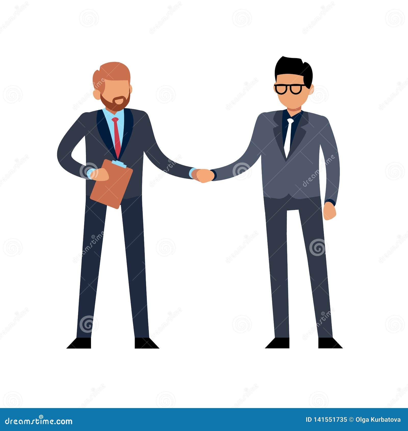 Biznesmena uścisku dłoni mieszkanie Dwa potomstwa stoi ludzi spotyka na konferencji lub kontrakta transakcji