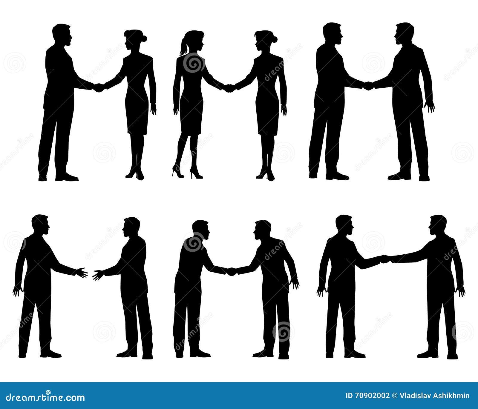 Biznesmena uścisku dłoni sylwetki