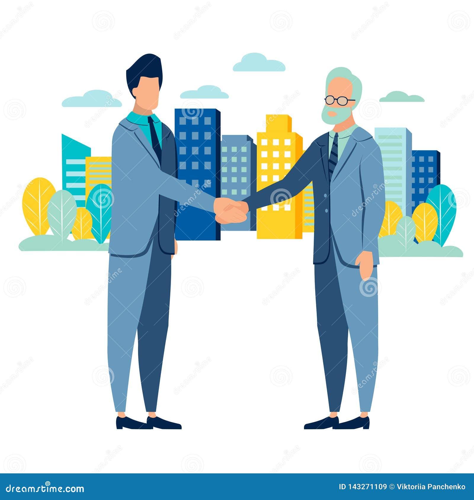 Biznesmena uścisku dłoni transakcja Mieszkanie styl Kresk?wka wektor