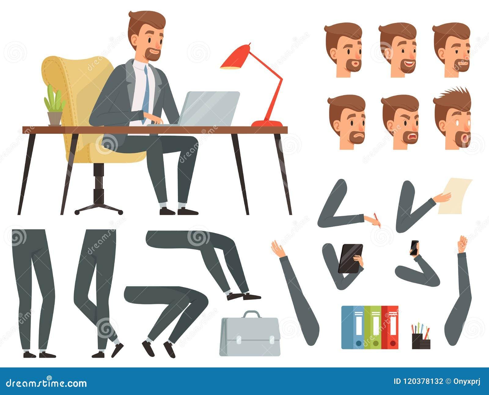 Biznesmena workspace Wektorowy maskotki tworzenia zestaw Różnorodne klucz ramy dla biznesowej charakter animaci