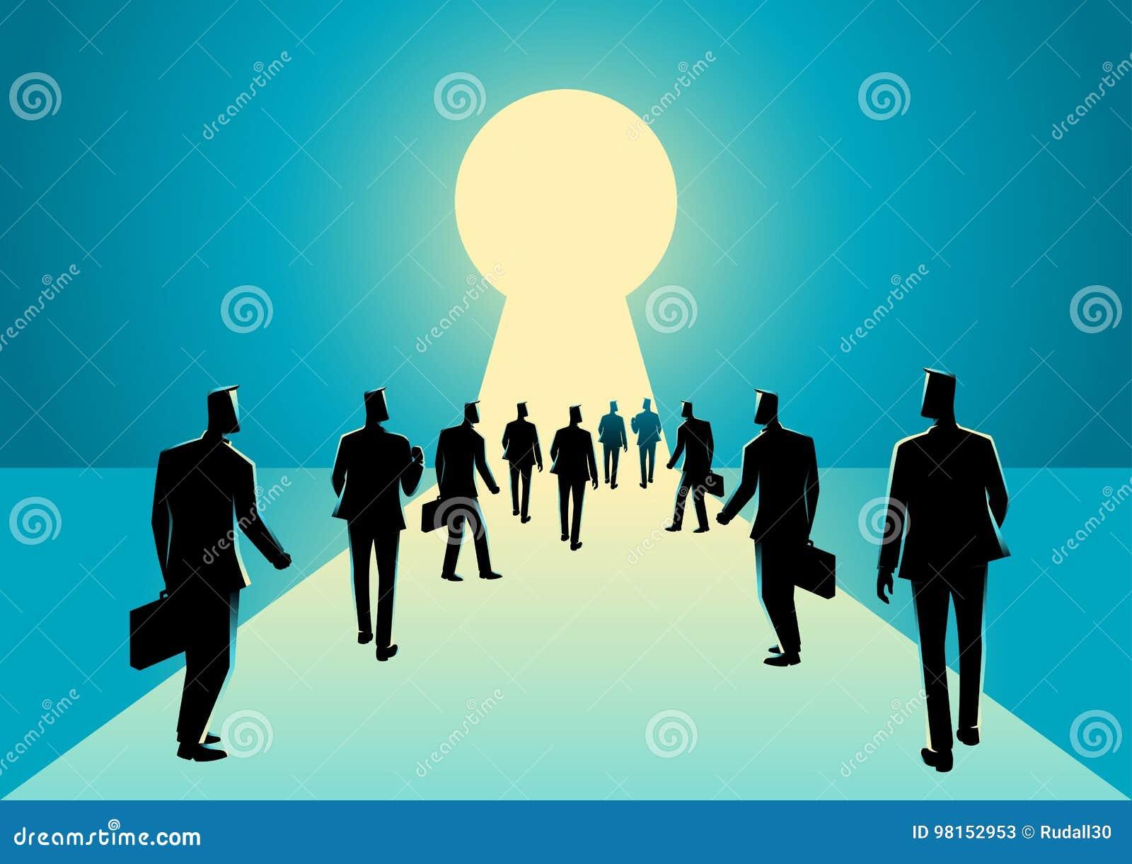 Biznesmeni chodzi w keyhole z jaskrawym światłem