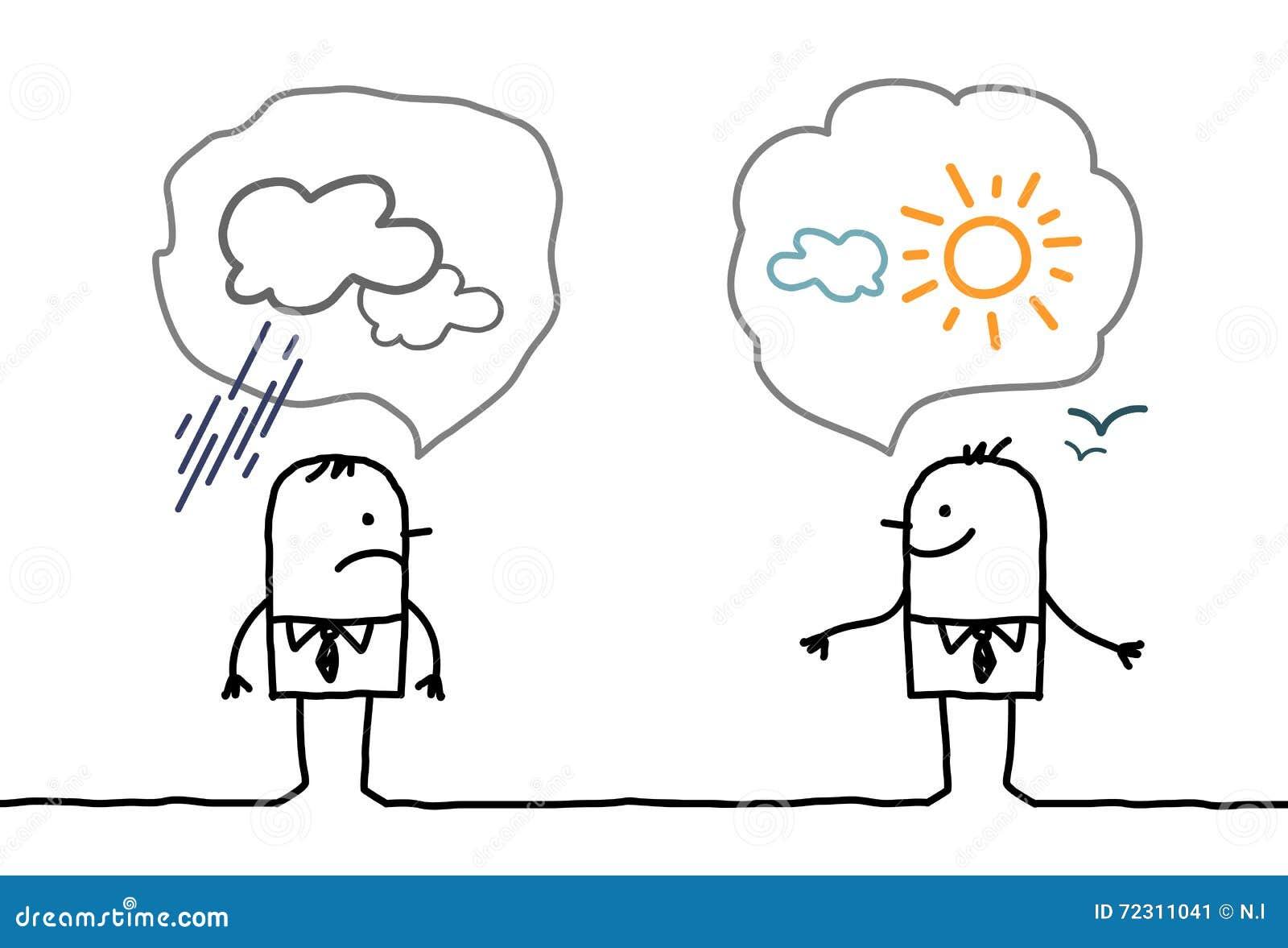 Biznesmeni optymistycznie i pesymistyczni -