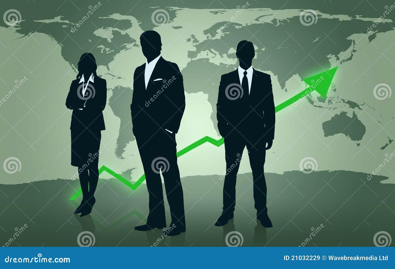 Biznesmeni target525_1_ przed światową mapą