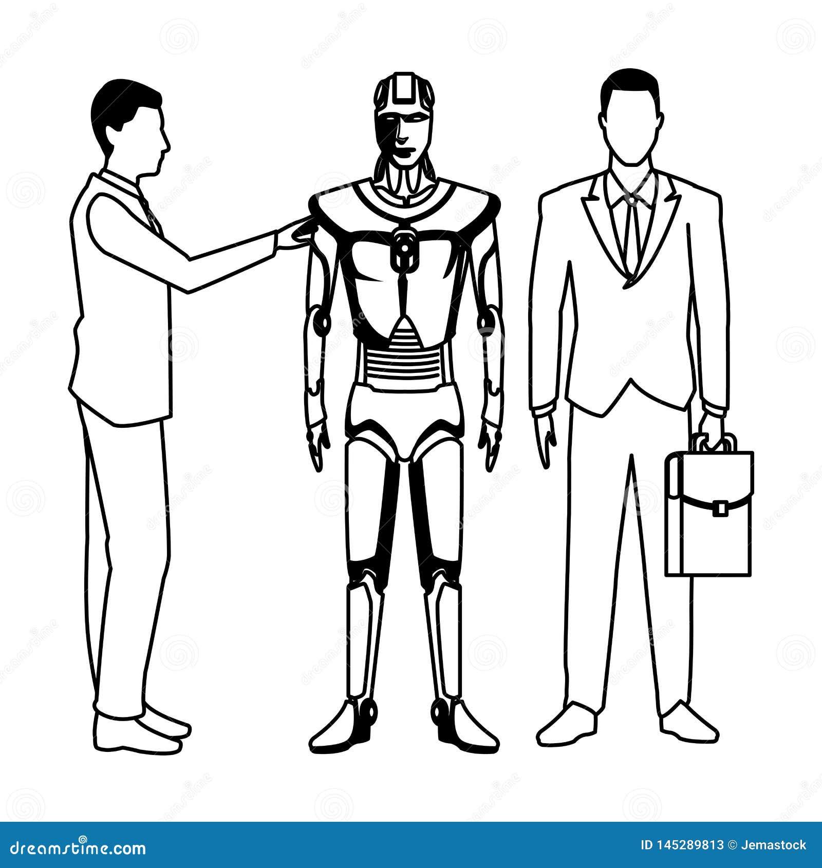 Biznesmeni z humanoid robotem czarny i bia?y