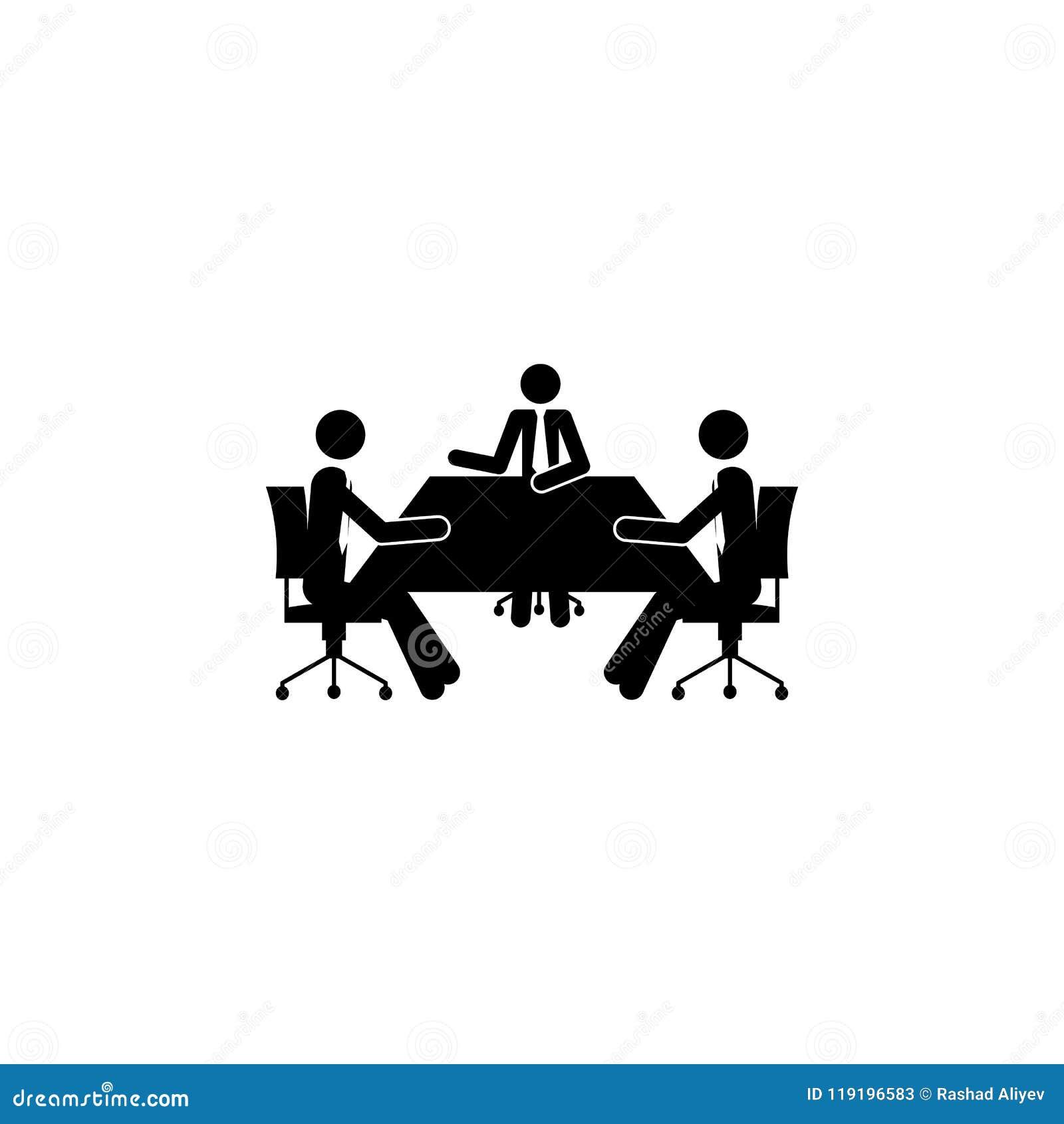 Biznesowa dyskusja przy stołową ikoną Element ludzie przy pracy ikoną dla mobilnych pojęcia i sieci apps Szczegółowy biznesowy di