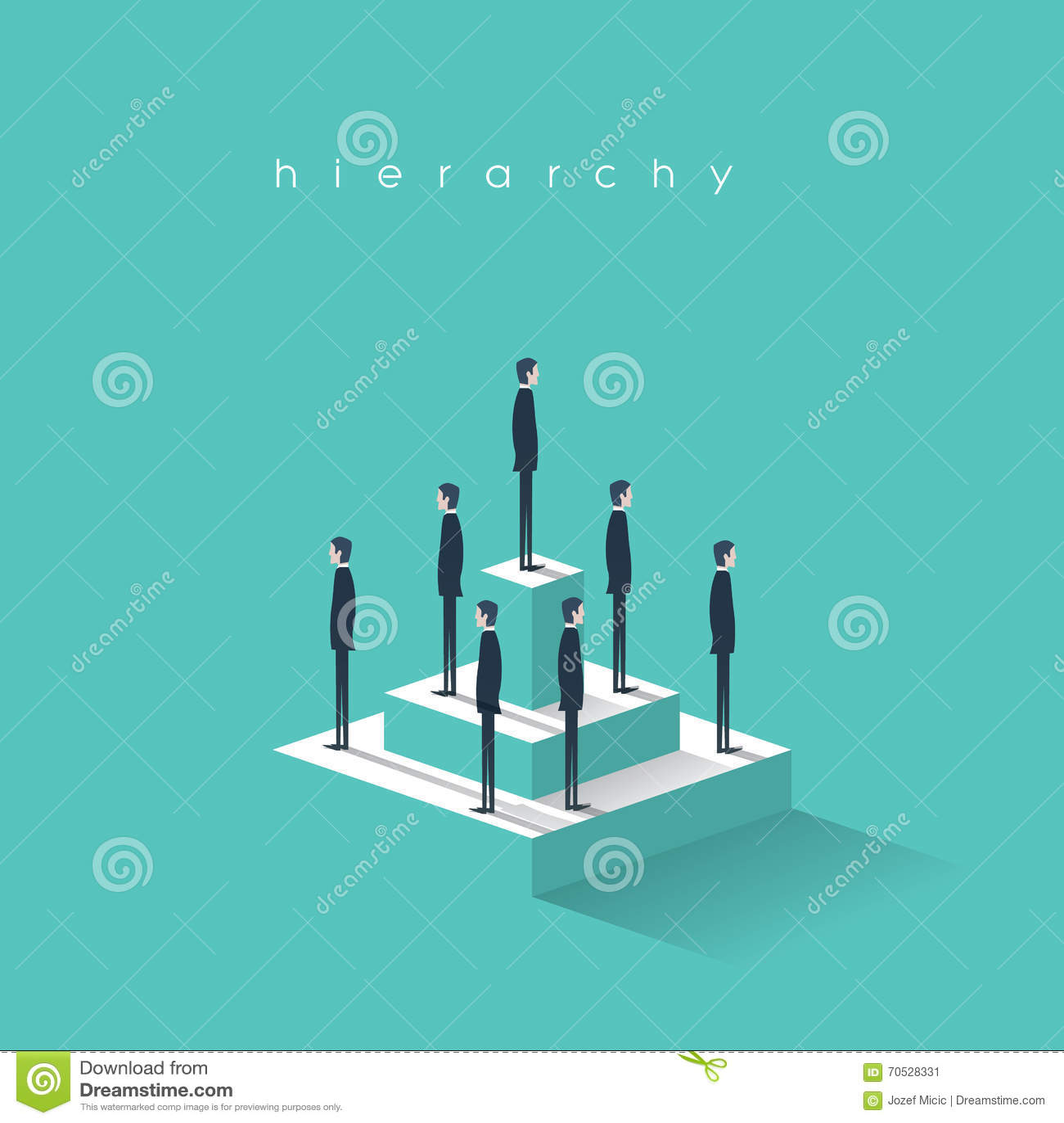 Biznesowa hierarchia w firmy pojęciu z biznesmenami stoi na ostrosłupie Korporacyjna organizacyjnej mapy struktura