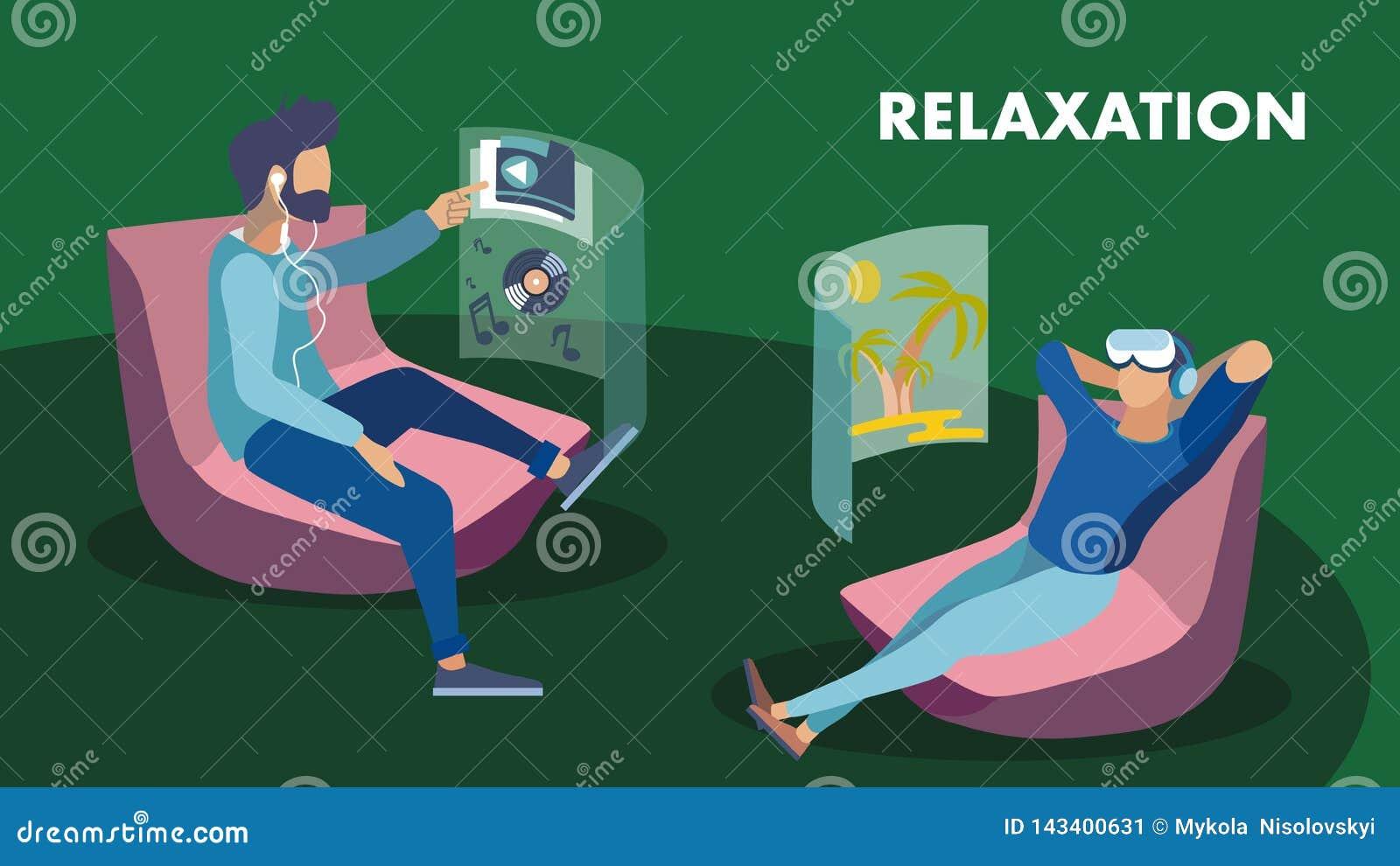 Biznesowa hol strefy rzeczywistość wirtualna Relaksuje sztandar
