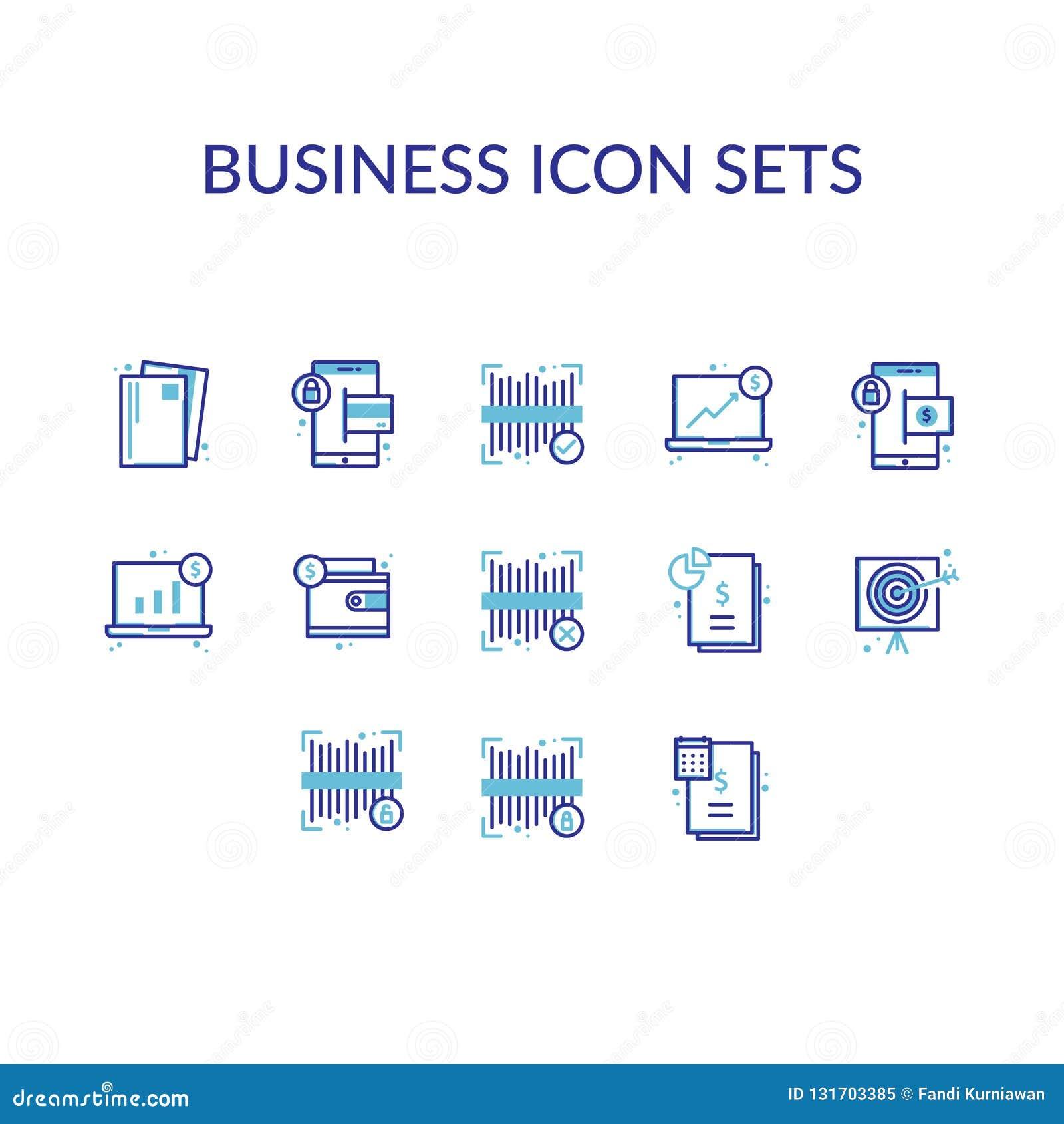 Biznesowa ikona setów konturu linia