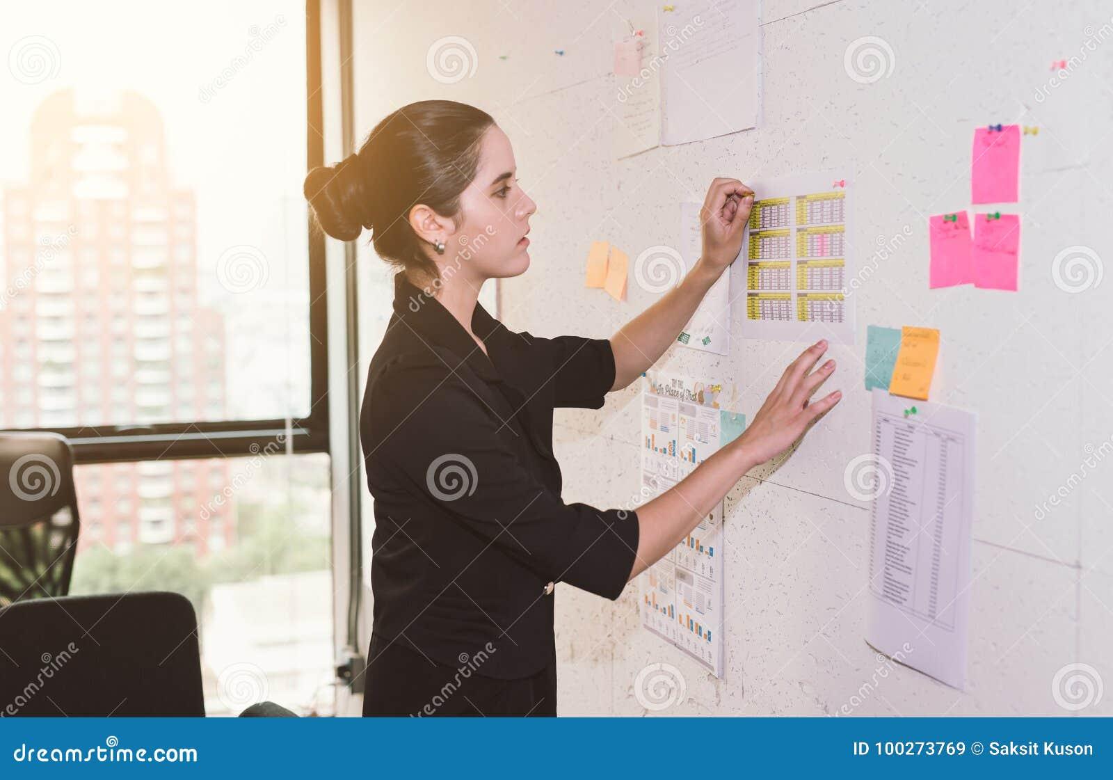 Biznesowa kobieta dyskutuje pojęcie i planuje Przód ścienny markier i majchery Początkowy biuro