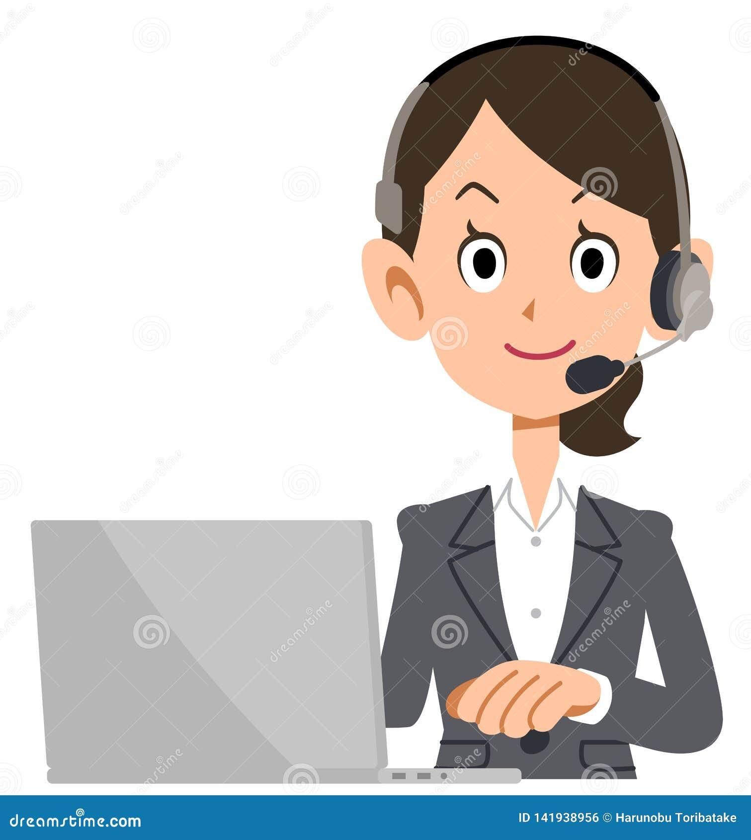 Biznesowa kobieta jest ubranym słuchawki działać komputer osobistego