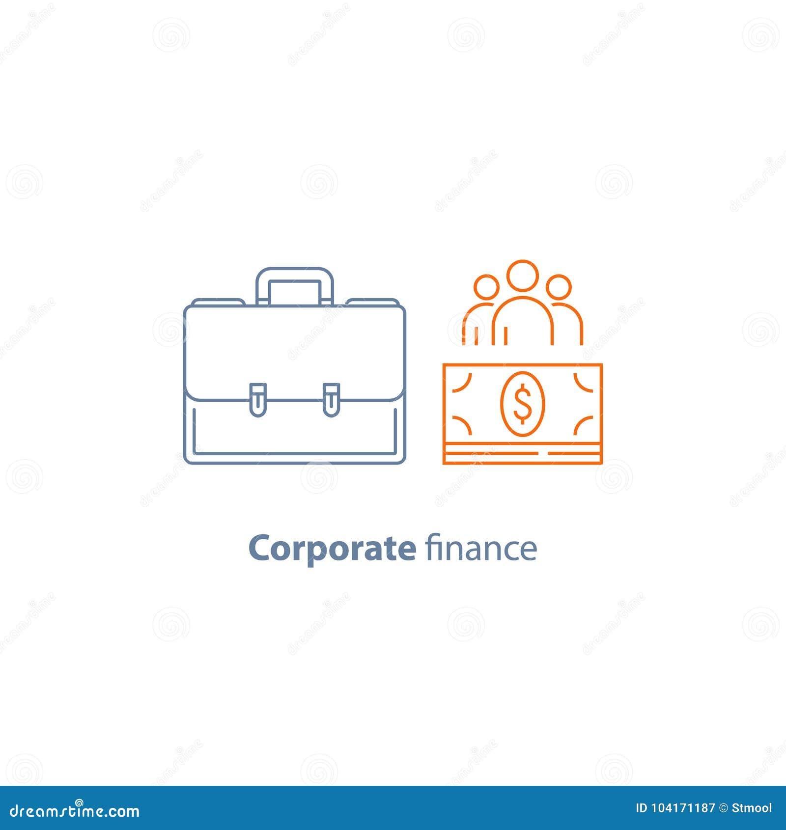 Biznesowa pożyczka, firma koszty, korporacyjny finanse, pieniężni ludzie, część właściciele, wektor kreskowa ikona