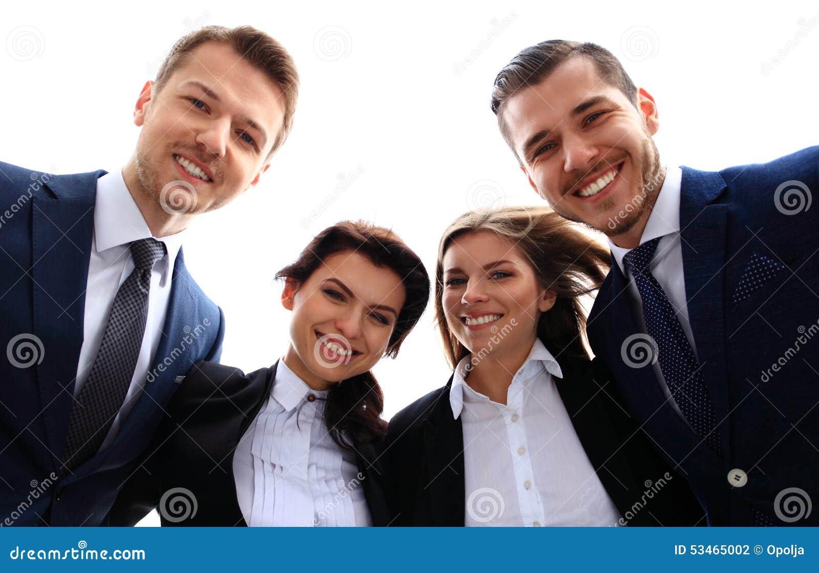 Biznesowa szczęśliwa uśmiechnięta drużyna
