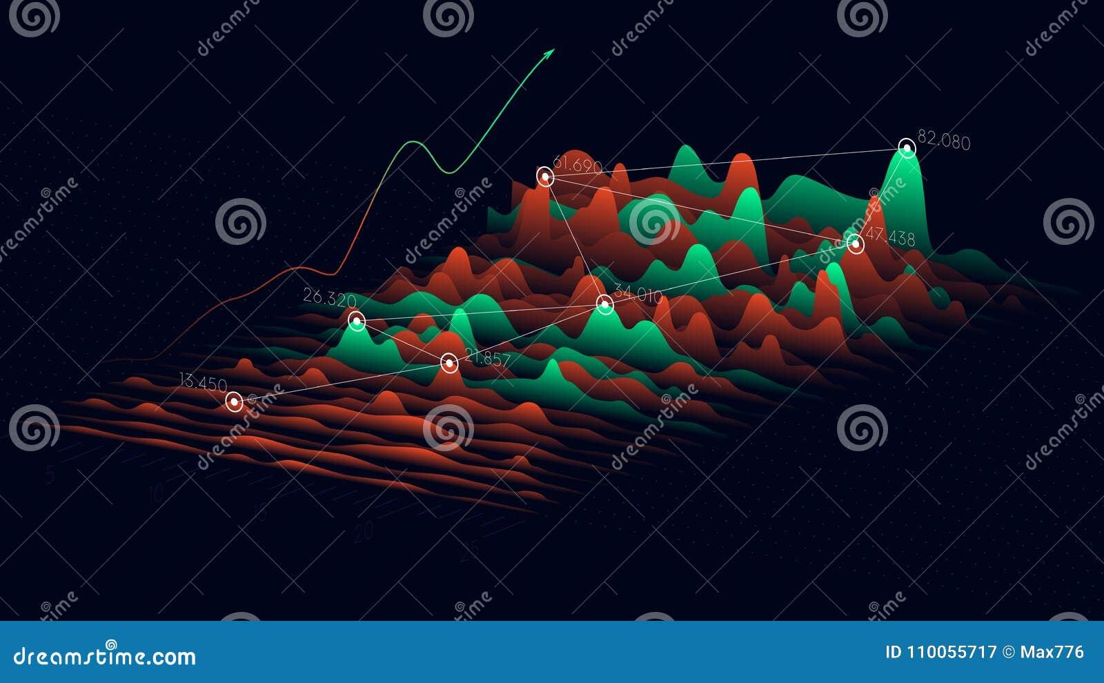 Biznesowe analityka i pieniężny technologii pojęcie, Wektorowy statystyki dane 3D unaocznienie