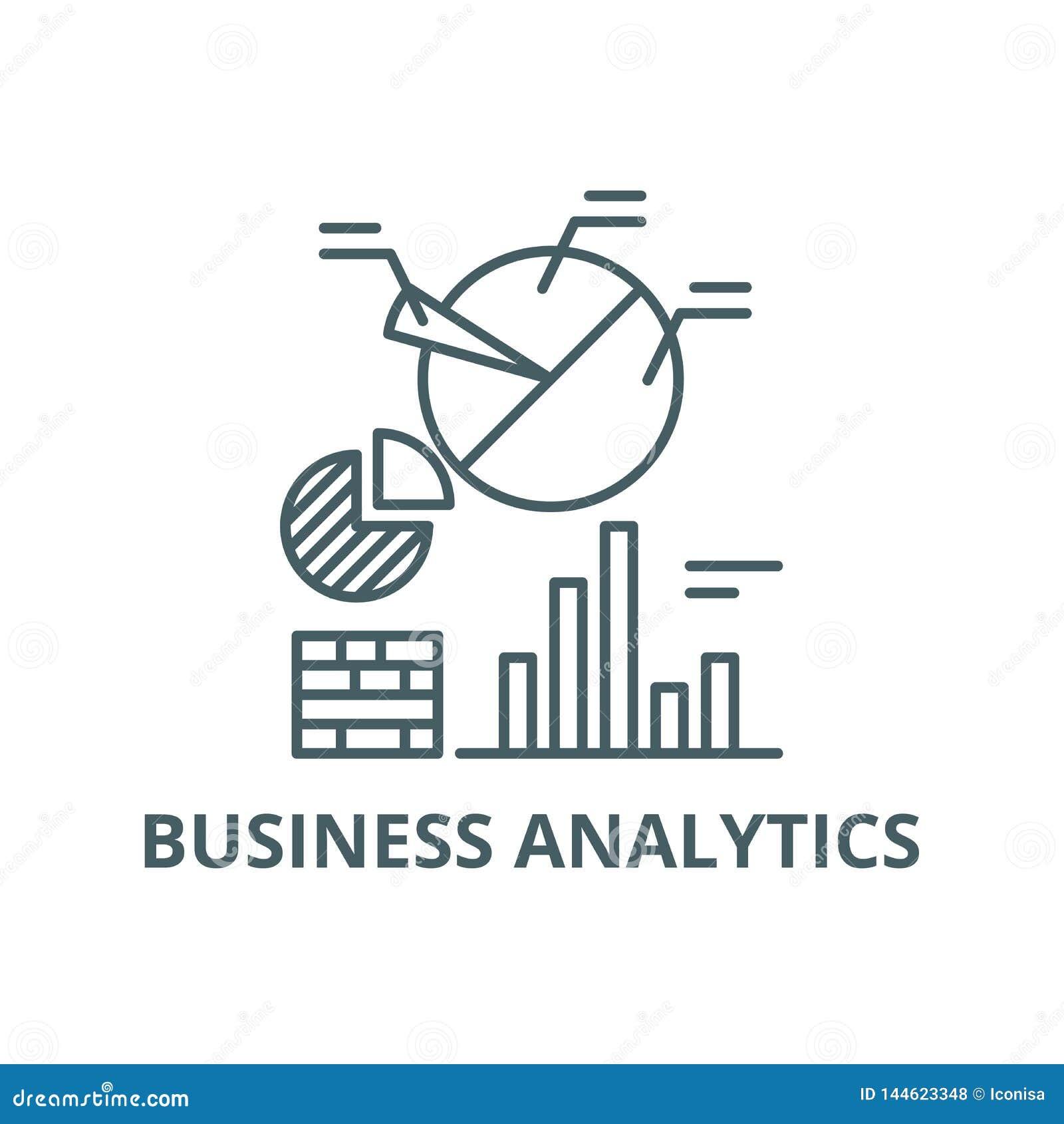 Biznesowe analityka kreskowa ikona, wektor Biznesowy analityka konturu znak, pojęcie symbol, płaska ilustracja