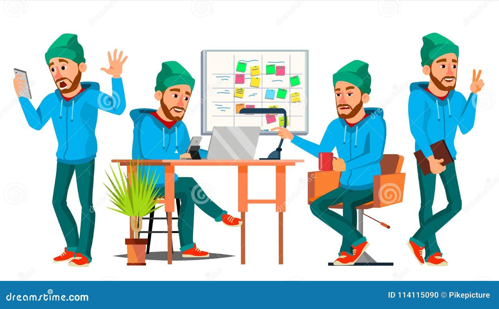 Biznesowego mężczyzna charakteru wektor Pracująca chłopiec, mężczyzna Środowisko proces Wewnątrz Zaczyna Up biuro, studio Męski p