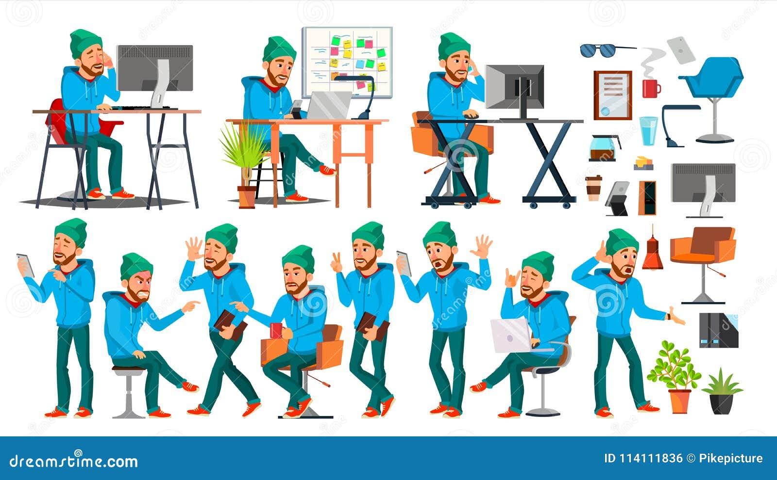 Biznesowego mężczyzna charakteru wektor Pracujący ludzi ustawiający Biuro, Kreatywnie studio brodaty Pracownik, Freelancer Pełna