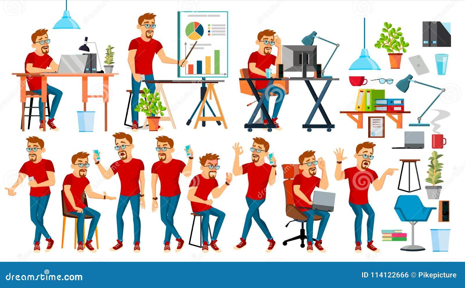Biznesowego mężczyzna charakteru wektor Pracujący ludzi ustawiający Biuro, Kreatywnie studio brodaty pracownik Pełna długość prog