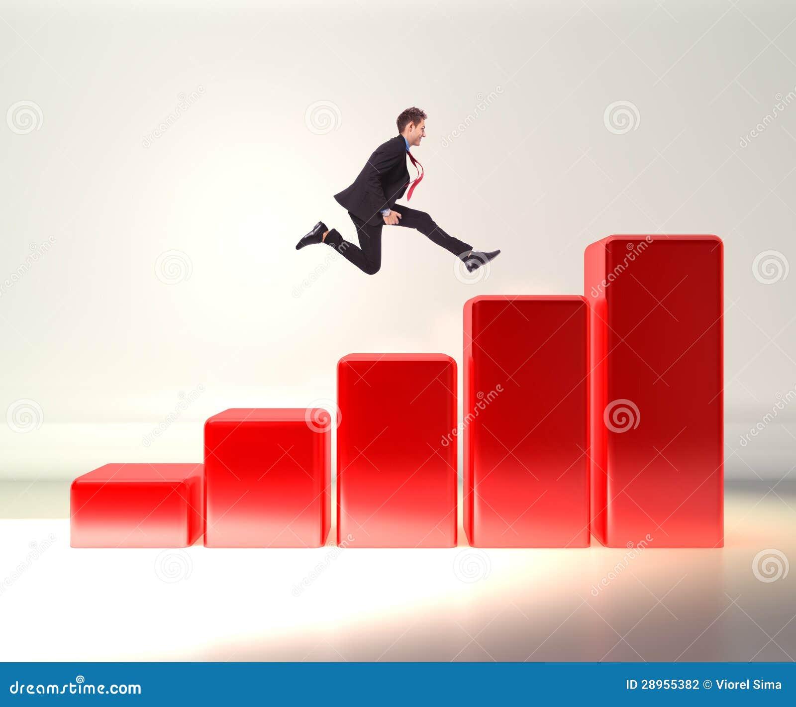 Biznesowego mężczyzna doskakiwanie na 3d wykresie