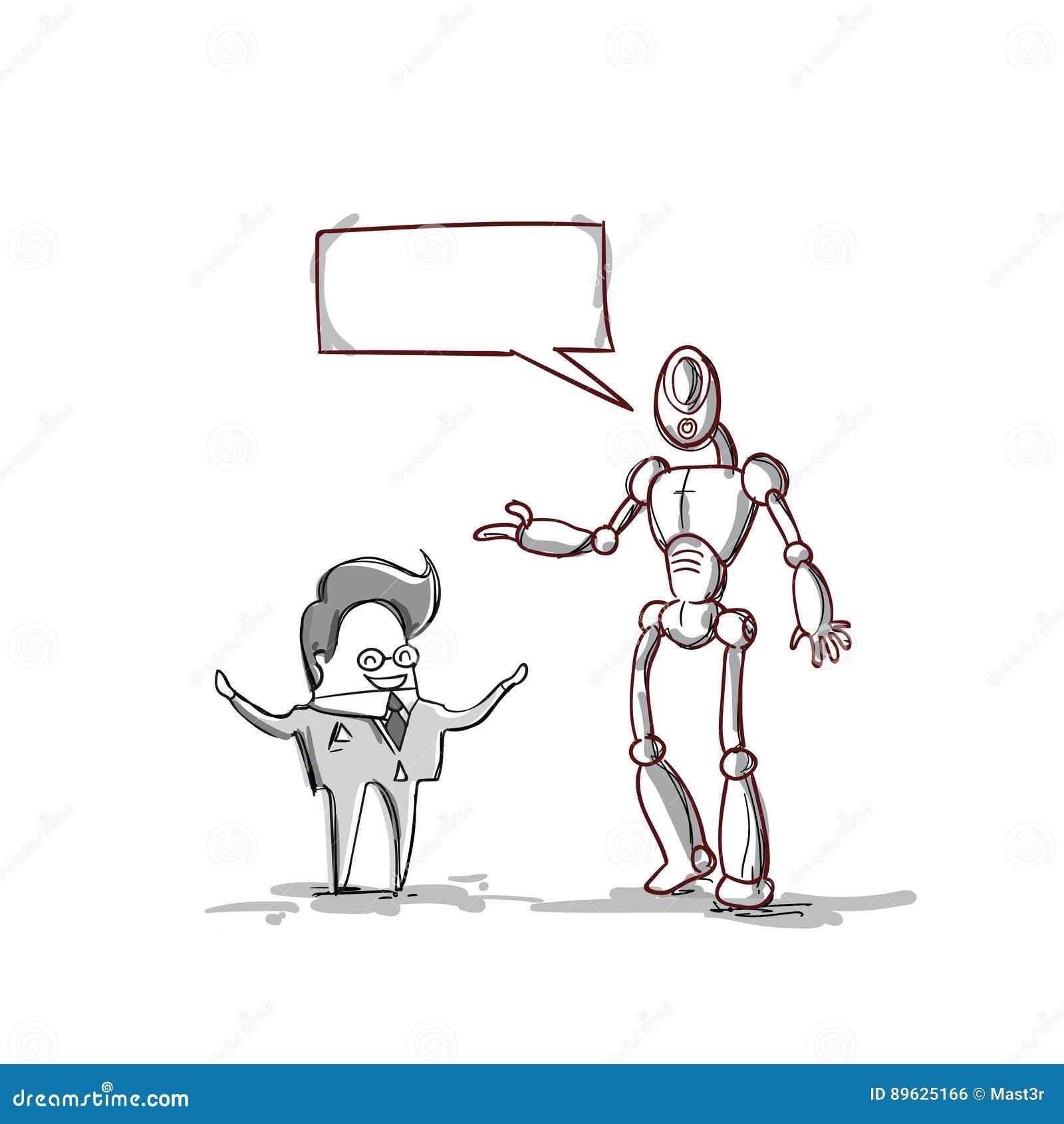 Biznesowego mężczyzna mówienie Z Nowożytnym robotem, biznesmena spotkania dyskusja