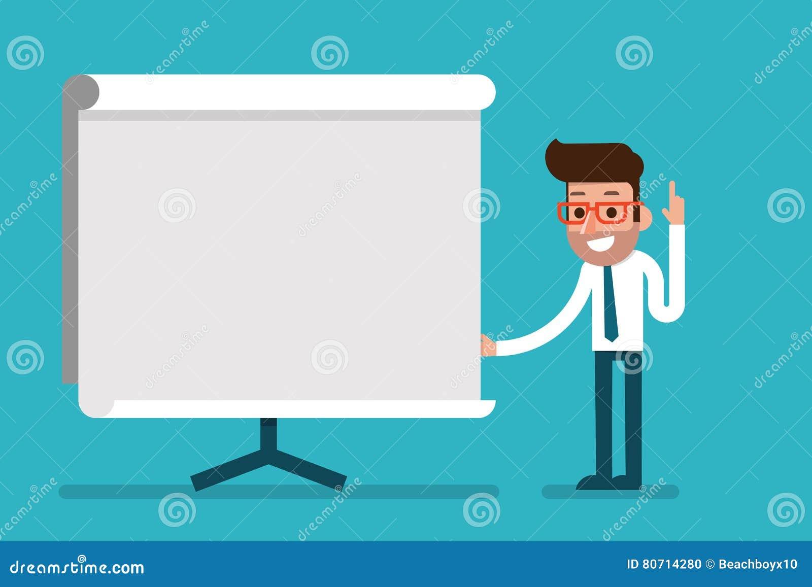 Biznesowego mężczyzna mienia whiteboard - prezentacja
