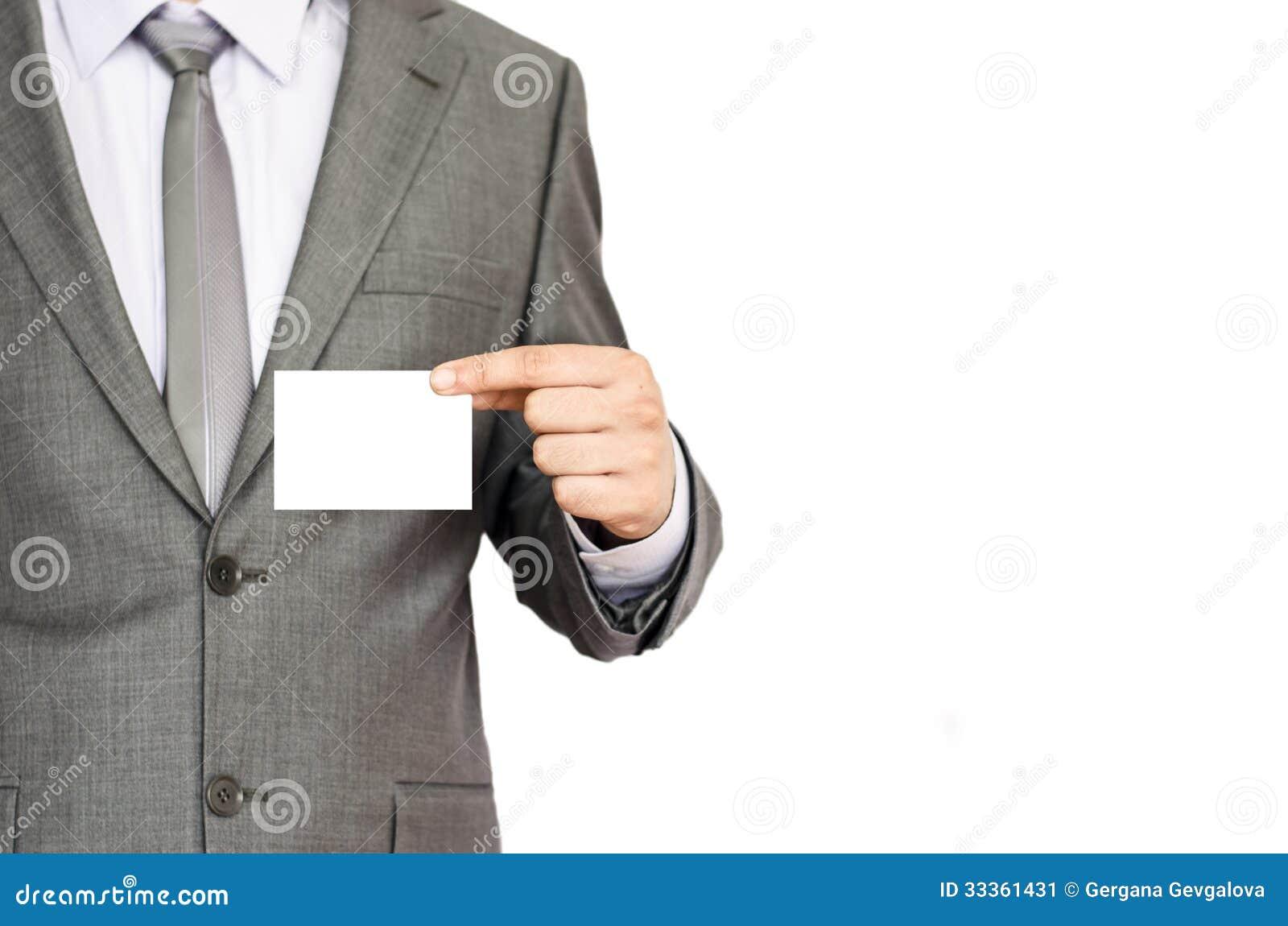 Biznesowego mężczyzna mienia wizytówka