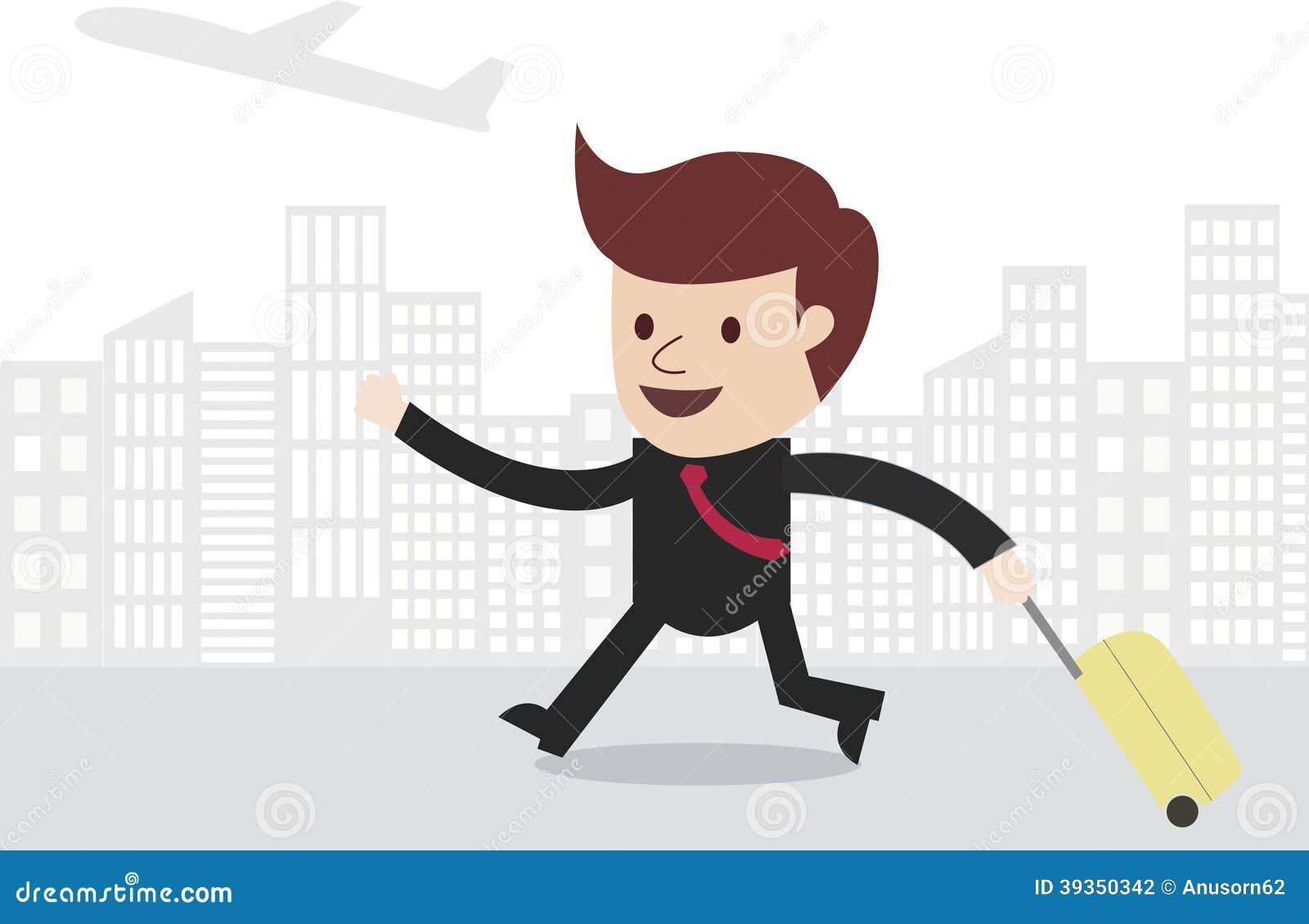 Biznesowego mężczyzna podróżnik z miasto linią horyzontu