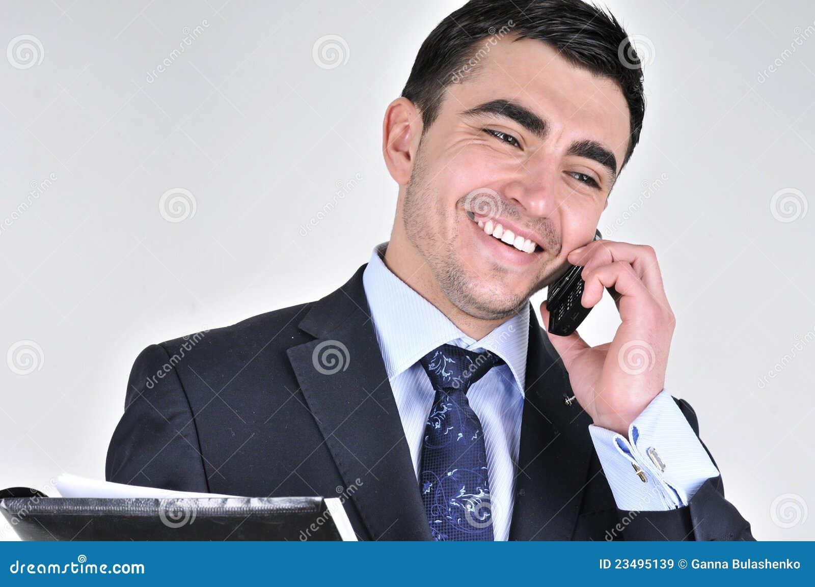 Biznesowego mężczyzna telefon komórkowy target3157_0_