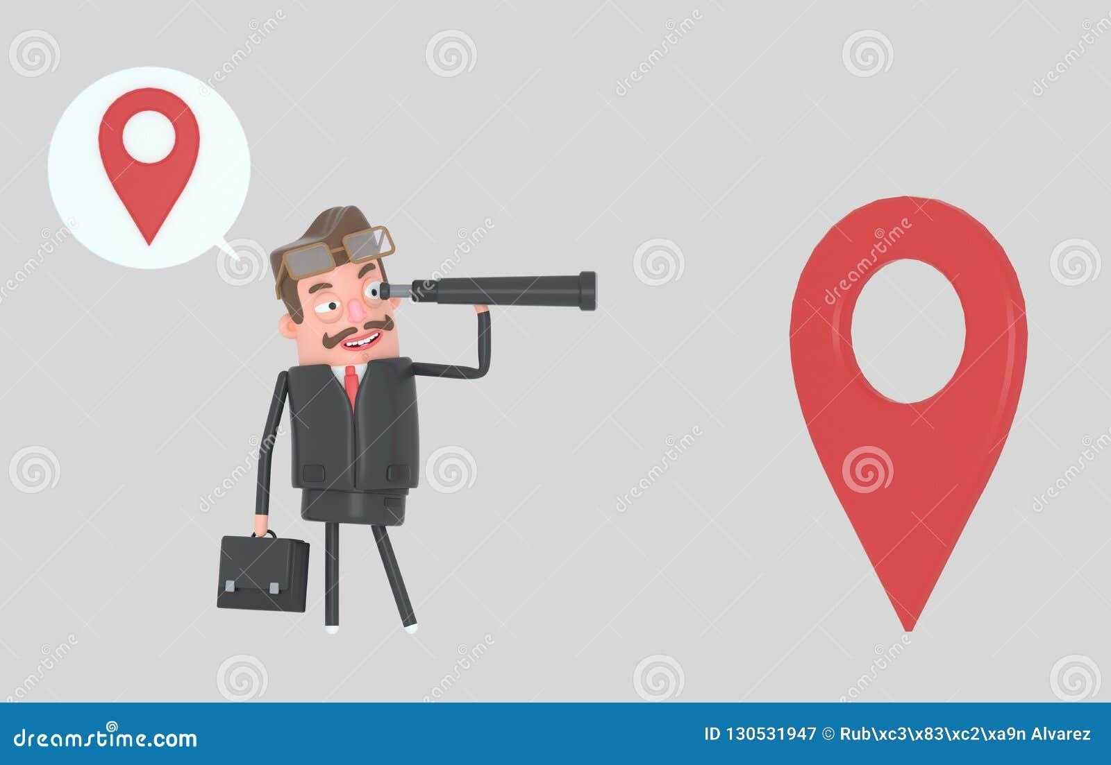 Biznesowego mężczyzny dopatrywanie naprzód w spyglass i pozycja halloween ilustracja 3 d