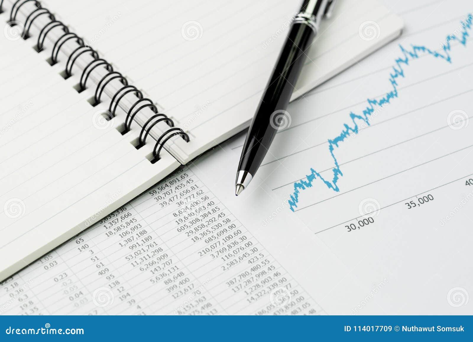 Biznesowego występu przegląd, budżet, ekonomie lub inwestycja conc,