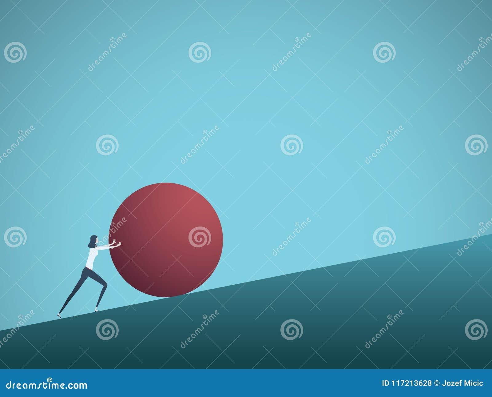 Biznesowego wyzwania wektorowy pojęcie z bizneswomanem jako sisyphus dosunięcia skała ciężka Symbol trudność, ambicja