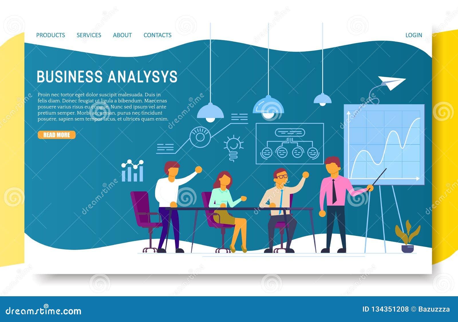 Biznesowej analizy lądowania strony strony internetowej wektoru szablon