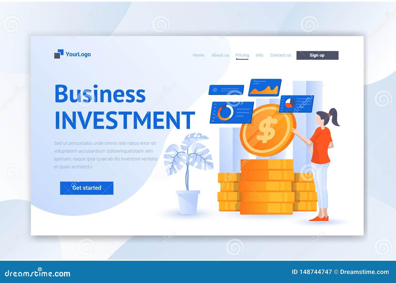 Biznesowej inwestycji sieci Ui l?dowania strony projekt Nowo?ytny P?aski ilustracyjny Wektorowy Ui szablon